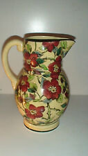 TUSCAN DECORO ART DECO HAIND PAINTED FLORAL MOTIF ART POTTERY  PITCHER  ENGLAND