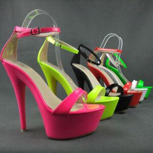 Sexy High Heels Plateau Sandaletten in leuchtenden Farben