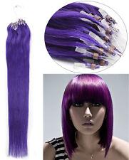 "50S Loop Micro Ring Beads Tip 100% Premium Remy Human Hair Extensions18"" Purple"