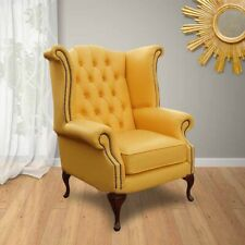 Chesterfield New Queen Anne High Back Wing Chair UK Manufactured Yellow Leather