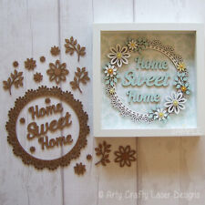 MDF Craft Blank Home Sweet Home Floral Lace Effect Wreath