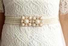 UK Stock Diamante Gold Buckle bridal Pearl Elastic Stretchy Belt Strap Waistband