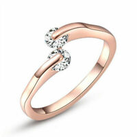 1-tlg. Mode Damen Vergoldet Kristall Rose Gold Hochzeits Engagement Ring