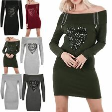 Womens Ladies Off The Shoulder Knitted Sequin Heart Diamante Bodycon Mini Dress