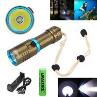 Underwater 100m 10000LM XM-L T6 LED Scuba Diving Flashlight Torch 26650/18650