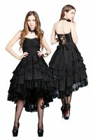 Dark in Love Black Lace Dress Sweetheart Dovetail Noble Gothic Victorian DW039