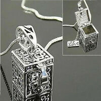 Metal Urn Cremation Pendant Necklace Ash Holder Mini Keepsake Jewelry SilverDOFA