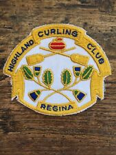 Vtg Highland Curling Club Sew On Patch Embroidered Regina Saskatchewan SK Canada