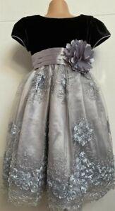Silver Black Grey Flower Girl Bridesmaid Formal Birthday Prom Party Dress 2-10y