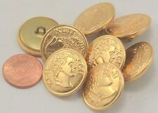 "8 Gold Tone Puffed Metal Buttons XLII Roman Numerals Ancient Head 7/8"" 23mm 7025"