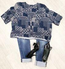 Ladies Box Blouse Sz 16 Navy Blue Mix Short Sleeve Summer Fashion Top Casual