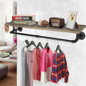 Industrial Pipe Clothes Towel Rack Wood Shelves Shelf Holder Wall-mounted Hanger