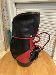 Red & Black Faux Leather Golf Bag Wine/Liquor Bottle Cover Wine Bottle Carrier