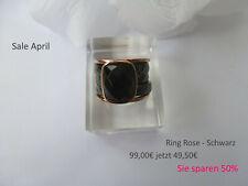 SALE APRIL Ring Rose und Schwarz mit 3 geschliffenen Keramik Ringen & Rosering