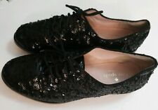 KATE SPADE New York Black Sequin PAXTON Lace Up Oxford Sz 6 WOMENS