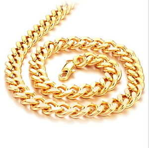 8mm Wide Quality Mens Thick Copper 18K Gold-plated Cuban Curb Chain Necklace