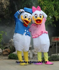 2PCs Disney Donald&Daisy Duck Mascot Costume Halloween Holiday Party Adult Suit