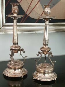 610g sterling SILVER SET 2 CANDLESTICK FRENCH STYLE