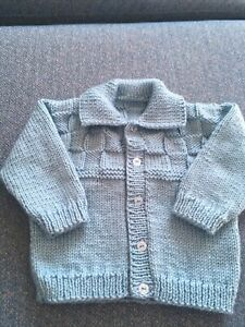 """Boys Hand Knitted Cardigan Brand New 20"""" Chest 6- 12 Months"""