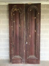 """Antique Rustic Victorian Headstone Style Double Doors (96""""H X 50""""W)"""