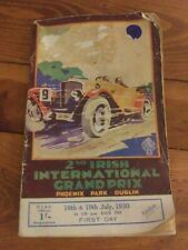 2nd Irish International Grand Prix Program Original Rare 1930