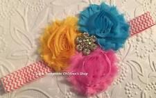Yellow Turquoise Pink Jeweled Triple Shabby Flower Headband