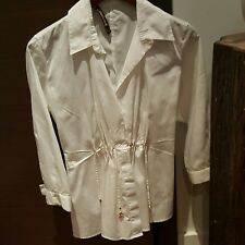 ROBERTO CAVALLI Top Blouse Tunic White Gold Buttons Ties at Waist 38 40