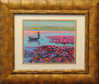 "Lotus land. Original framed oil on canvas paper 8""x10"" painting from artist"