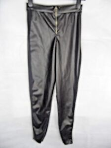 Faux Leather Trousers Size 8 Black Mesh Sports Luxe Side Panel Zip Leggings