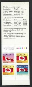 Canada BK123: 50c Booklet contains Scott 1190a, 40c Flag perf. 13.3 x 14, VF-NH
