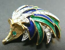 Pin Brooch Hehdgehog Enamel (Br15) Vintage A & S Gold Tone