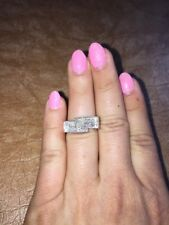 18K WHITE GOLD INVISIBLE SET PRINCESS DIAMOND CLUSTER COCKTAIL STATEMENT RING