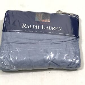 Ralph Lauren Chambray Blue Full Flat Bed Sheet NEW Open Package