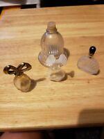 4 Miniature Vintage Perfume Bottles various shapes