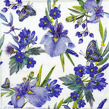 4x Paper Napkins for Decoupage Vintage Blue Flowers Butterfly