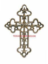 Texas Stars Wall Cross Cast Iron Rustic Finish Western Fleur De Lis 12 x 9 in