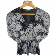 ALEXANDER McQUEEN Women Black Blouse Size L 46 Womens Floral Top Tee NWT 935$