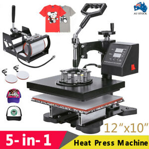 5 in 1 High Pressure Heat Press Transfer Sublimation Machine T-Shirt Printer AU