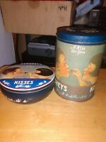 Vintage Hershey's Kisses Collectable Metal Tins Lot Decorative Advertising