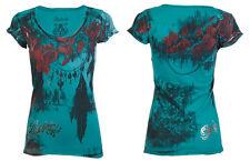 Archaic AFFLICTION Womens T-Shirt BEAUTY QUEEN Roses TEAL BLUE Tattoo Biker $40