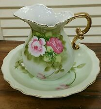 Pitcher and Bowl in the Heritage Green Pattern  by Lefton    #4579 JAPAN