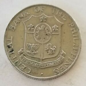 1966 Philippines 25 Centavos Coin w/ Coat of Arms, Hammer & Anvil Good Condition