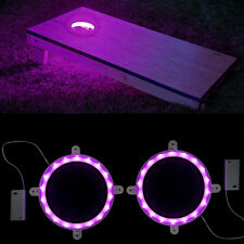 "2 Cornhole Lights LED Light Bean Bag For Play Night Game 6"" Super Bright Board"