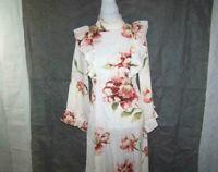 Shein Maxi Prairie Dress Medium Retro Ruffled Long Sleeves Floral Peasant Hippie