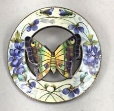 Wonderful Paye & Baker Sterling & Enamel Butterfly & Violets Large Pin/Brooch