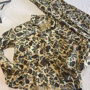 Vintage 1980's Duck Camo Military Hunting shirt and pants USA