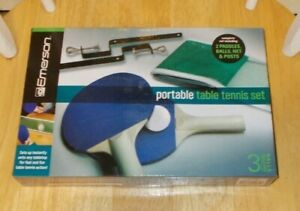 Emerson Portable Table Tennis Set With 2 Paddles, 3 Balls, Posts And Net NEW