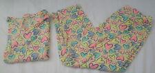 SECRET TREASURES Pajama Set,Yellow Hearts,Pink,Blue,Lightweight Summer PJs,S 4-6