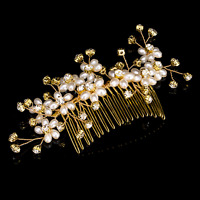 Wedding Flower Pearl Crystal Rhinestone Bridal Hair Comb Clip Hair Accessory