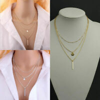 Fashion Womens Multilayer Necklace Chain Bib Choker Crystal Pendant Chunky U2M3